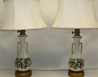 Pair Midcentury Lamps, Painted Ivory Ceramic with Cherries 1950s Vintage
