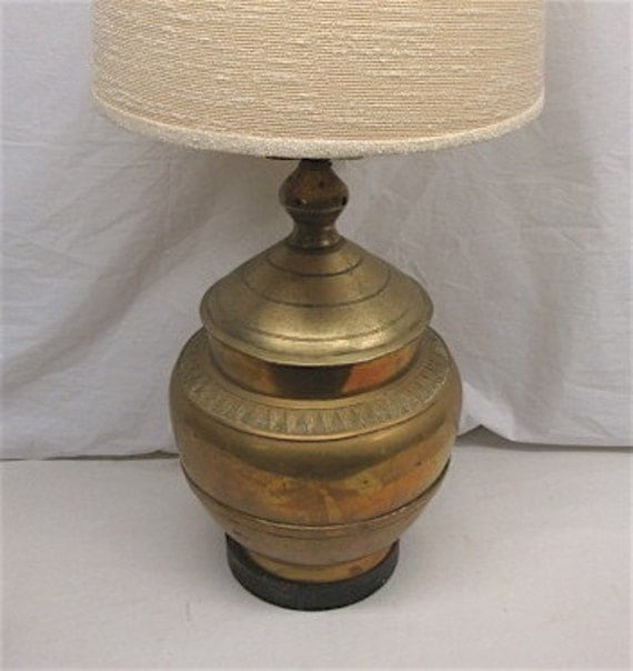 Carved Brass Table Lamp with Exotic Tribal Design Flair