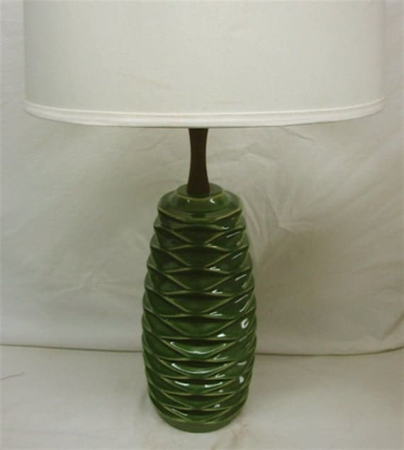 Large 1950's Green Ceramic Lamp with Teak Wood Accents