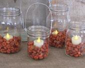 Mason Jar Lantern with Mini Pumpkins and Tea Lights- Set of 4