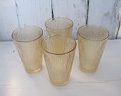 Vintage Glass Tumblers Set Tree Bark Texture Jeannette Marigold Carnival