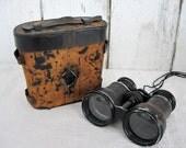 Antique Binoculars Austrian WW1 Military Binocular with Case K u K J Fabri