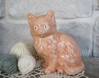 Vintage Ceramic Cat Figurine Farmhouse Home Decor Rose Pink Kitten Figure