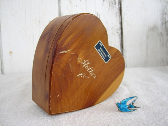Antique Trinket Box Wood Heart Primitive Farmhouse Mothers Gift Centennial 1948