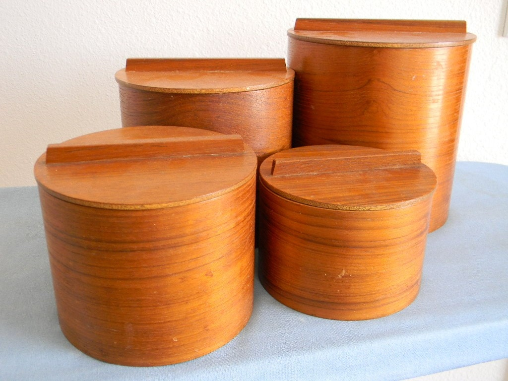 vintage modern wooden kitchen canisters