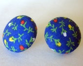 Blue Floral Fabric Covered Button Earrings