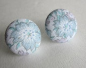 Vintage Flower Fabric Covered Button Earrings
