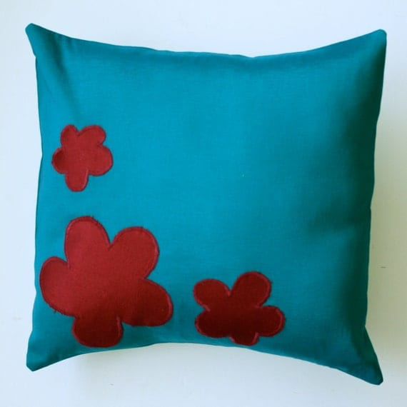Blue and Red pillow cover