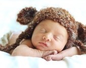 Teddy Bear Earflap Beanie--NB, 3-6, & 6-12 months