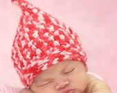 Newborn Pixie Hat -- Baby Girl -- Candy Cane Colors