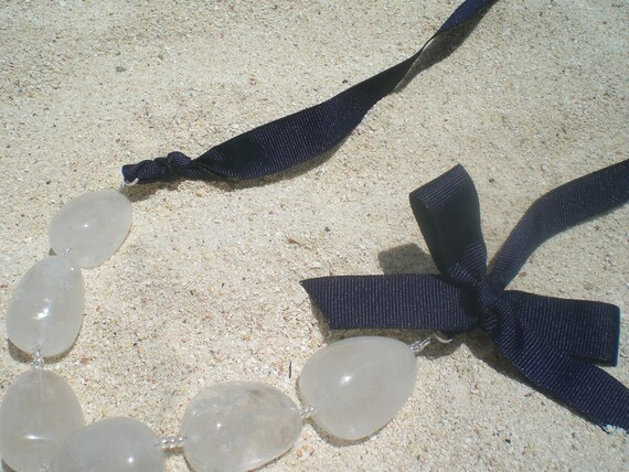 Nautical, Spring, Summer, Glass Ice Cube, Necklace with Ribbon Bow, Over the Head, Beach, Honeymoon, Wedding, Bridesmaid