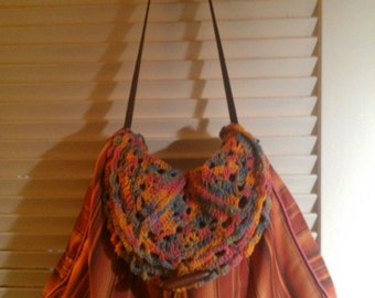Gypsy Bag, Bohemian Bag, Tapestry with Crochet Details.