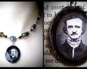 Edgar Allan Poe, victorian mourning jewelry with black and gray glass beads and antiqued silver rose. Vintage, gothic, romantic, poet