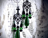 Absinthe Drops, sparkling deep emerald glass, green chandelier drops, black glass, gothic, victorian, art nouveau, romantinc, edwardian