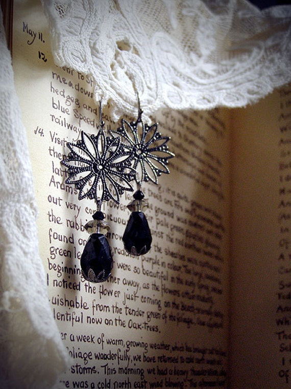 Elegant Flowers, vintage style flower filigree and black glass crystal drop earrings, romantic, Victorian, Edwardian, gothic