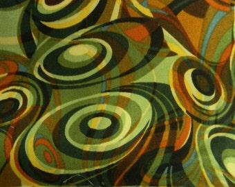 2 yards Brown and Green Abstract Robert Cotton Fabric Kaufman Fabric