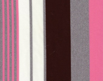 1 1/2 yards 60's Vintage Mod Pink & Brown Striped Polyester Fabric