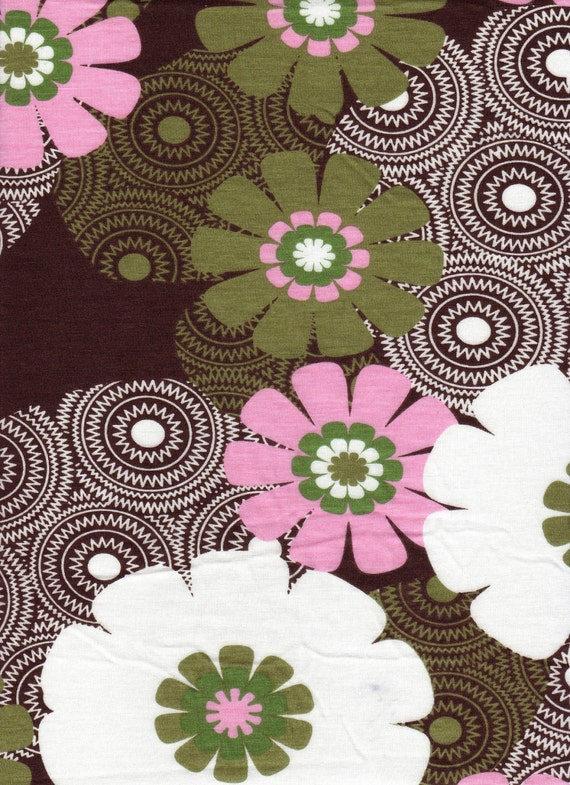2 yards Brown and Pink Floral Jersey Knit Fabric