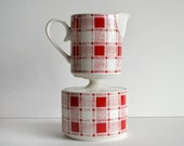 Vintage Cream and Sugar Set Plaid Red and White