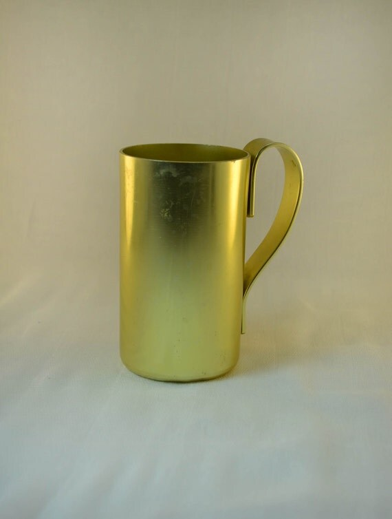 Vintage Aluminum Cup by ColorCraft Yellow with Handle