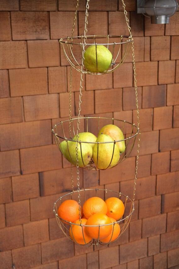 Hanging  Baskets Set of Three Tiered Brass Baskets
