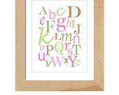 ABC's printable wall art poster - 8x10 (pink)