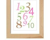 123's printable wall art poster - 8x10 (pink)