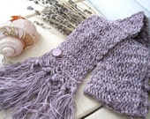 Lavender Lilac Scarf - HAND KNITTED- Lightweight Ribbon Yarn- Women Fashion