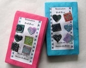 Hearts and squares embossed pretty shrink art push pins