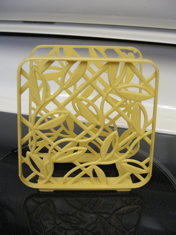 Vintage Lustro Ware Yellow Napkin Holder Made in USA