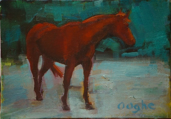 Chestnut Horse - Equestrian oil painting
