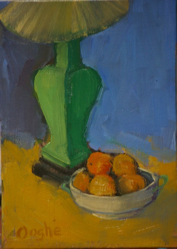 Green Lamp wit Oranges still life painting - original oil painting