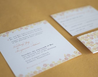 Garden Wedding Invitation Suite, Vintage Floral Illustration, Invite & RSVP with Envelopes, Citrus Pink Invitation, Spring Wedding