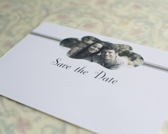 Taupe and Teal Vintage Inspired Cachet Save the Date with Envelope
