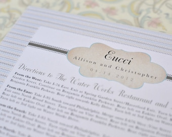 Taupe and Teal Vintage Inspired Cachet Large Insert (Directions Card)