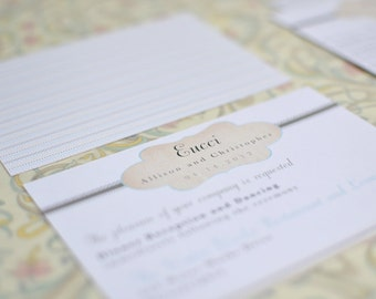 Taupe and Teal Vintage Inspired Cachet Small Insert (Reception Card)