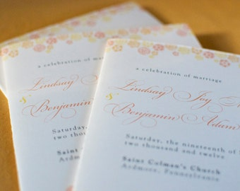 Vintage Inspired Botanical Trim Wedding Program