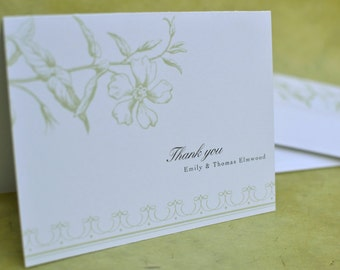 Vintage Flora Thank You Note with Envelope