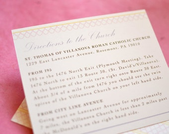 Vintage Inspired Chandelier Directions Card (Wedding Invitation Insert-Large)