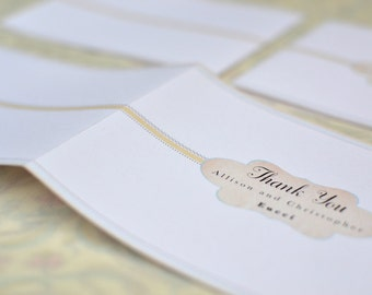 Taupe and Teal Vintage Inspired Cachet Thank You Card and Envelope
