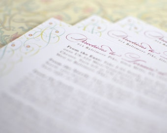 Vintage Inspired Filigree Vines Invitation Directions Card (Large Invitation Insert)