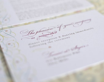 Vintage Inspired Filigree Vines Invitation Reception Card (Small Invitation Insert)