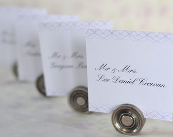 Wedding Place Cards: Vintage Calligraphy Scrolls - Elegant Folded or Flat Place Cards, Escort Cards