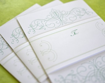 Green Wedding Invitation Package, Invite & RSVP with envelopes, traditional wedding invitation, vintage invitation suite, spring wedding