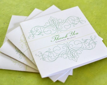 Custom Thank You Card: Vintage Bohemian Green Garden Thank You Note with Envelope, Art Nouveau