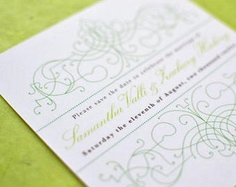 Wedding Save the Date Card : Vintage Bohemian Green Garden