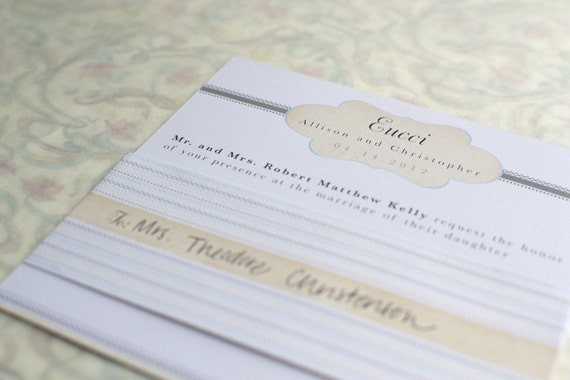 Wedding Invitation Package: Taupe and Teal Vintage Inspired Cachet - 5 pieces