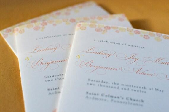 Vintage Inspired Botanical Trim Wedding Program