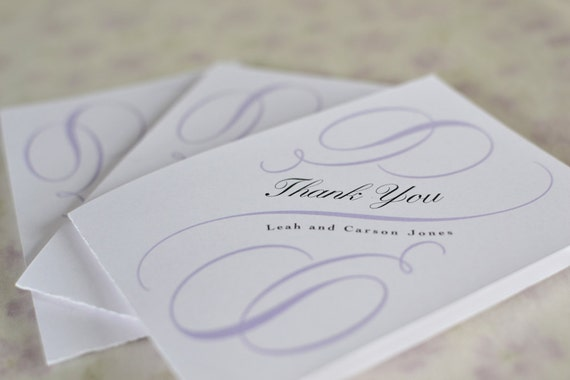 "Thank You Card: Vintage Calligraphy Scrolls - Thank You Card with Envelope, Featured in Etsy's Exclusive Wedding Event ""To Have and To Hold"""