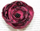 Wine Colored Satin Flower Clip with Beaded Center